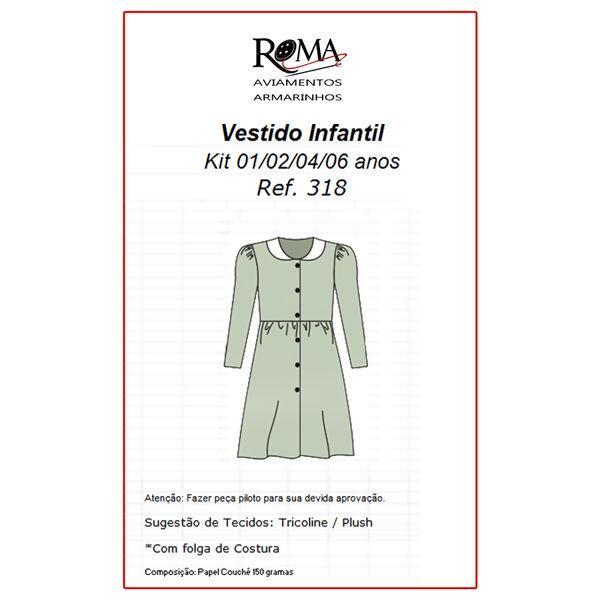 88f420721 Loja de aviamentos e armarinhos Molde para vestido infantil Nº318 01